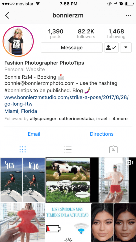 Bonnie Instagram Hashtag on Profile