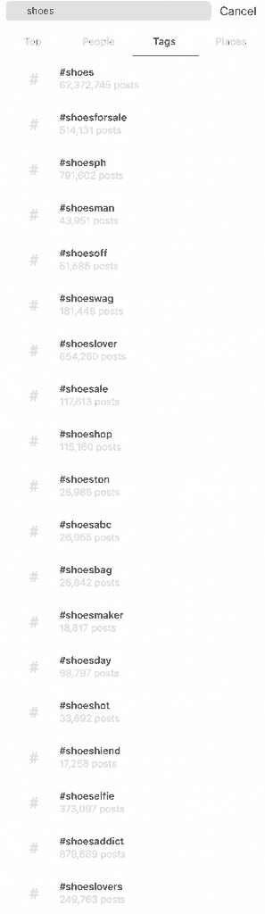 Instagram search Hashtags