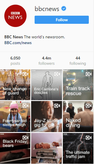 BBC instagram Sales funnel profile link