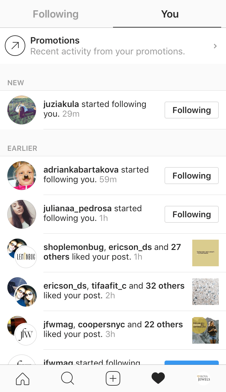 Activity tab Instagram