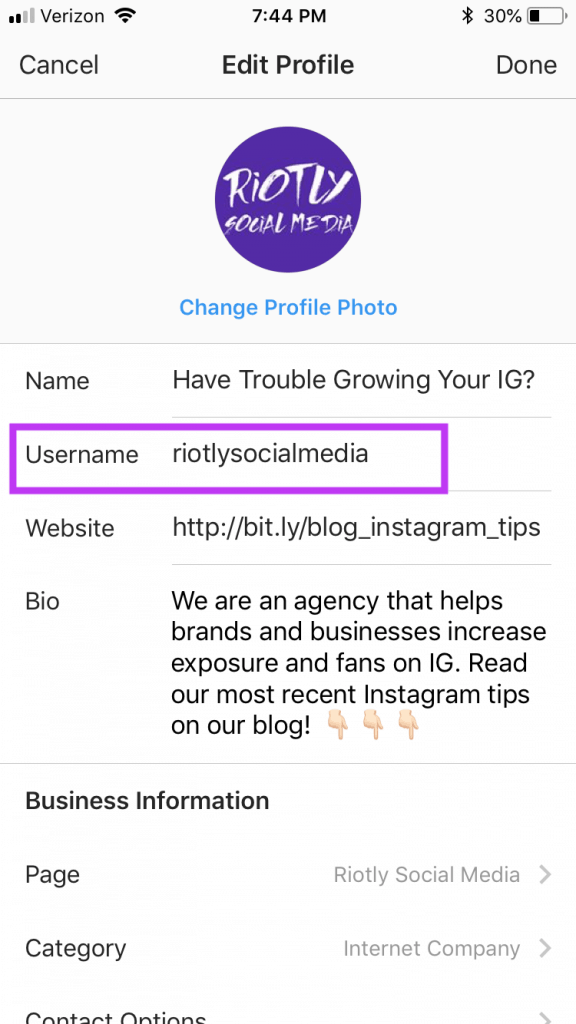 Change Instagram Name