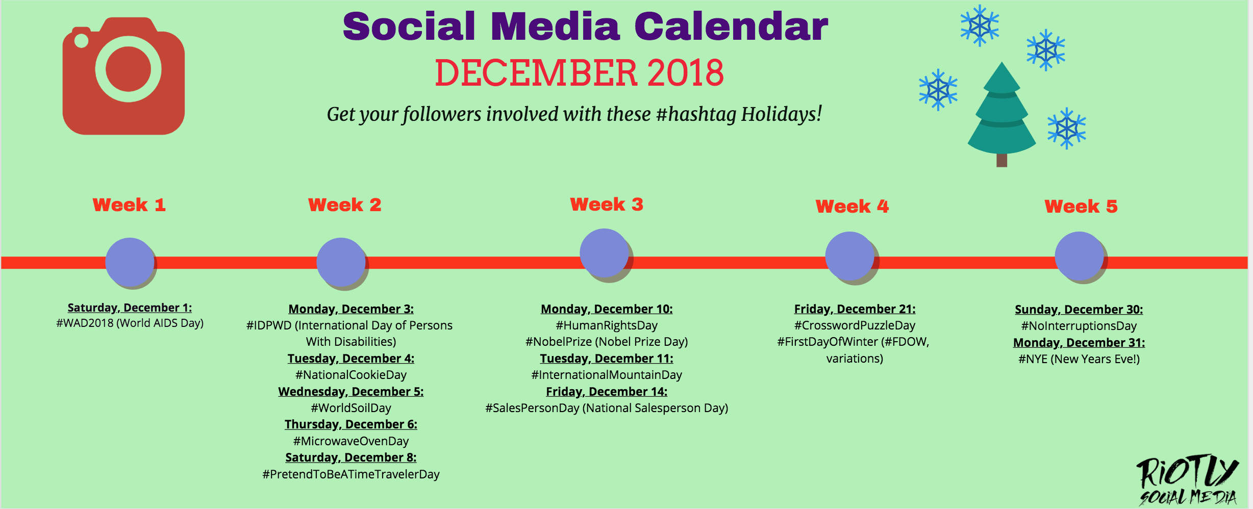 81 Social Media #Hashtag Holidays to post in 2018. Keep your followers engaged all year round! www.riotlysocialmedia.com/blog/what-to-post-on-instagram