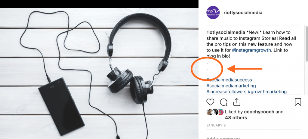How to hide hashtags on Instagram caption