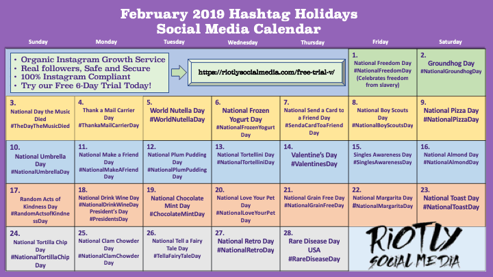 Social Media Holidays Calendar February 2019 Riotly Social Media